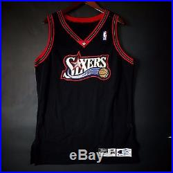 100% Authentic 97 98 Sixers 76ers Blank Game Issued Pro Cut Jersey 46 iverson
