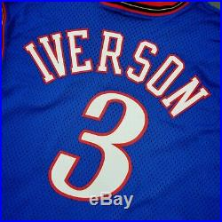 100% Authentic Allen Iverson Champion 99 00 Sixers Game Issued Jersey 44+2