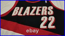 100% Authentic Clyde Drexler Portland Blazers Game Jersey 44 issued pro cut