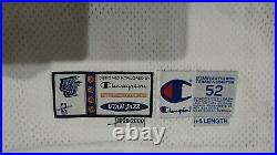 100% Karl Malone Champion 99-2000 Jazz Autographed Game Issued Jersey UDA