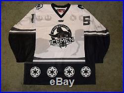 15-16 Evansville IceMen ECHL #15 Star Wars Night Darth Vader Game Issued Jersey