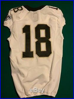 #18 New Orleans Saints 2014 Nike Size 38 White Game Worn / Issue Jersey