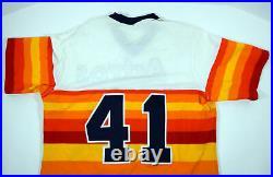 1982 Houston Astros #41 Game Issued Orange Rainbow Jersey Sand Knit DP07513