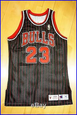 1996-97 Champion Bulls Michael Jordan Game Issued Black Jersey 46+3 Pro Cut
