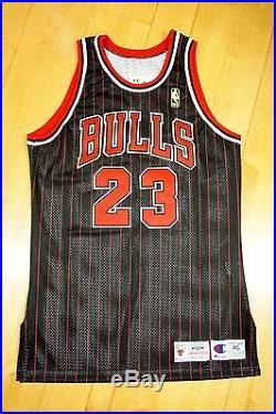 info for 750d7 6b466 1996-97 Champion Bulls Michael Jordan Game Issued Black ...