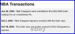 2000-01 Nick Sheppard Utah Jazz Game Used / Issued Pro Cut NBA Jersey Champion