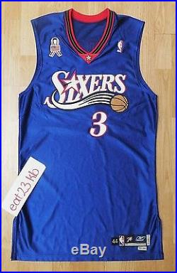 2001 ALLEN IVERSON 3 game issued pro cut jersey 76ers philadelphia Reebok jordan