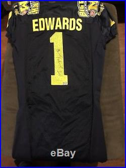 2005 Braylon Edwards Michigan Rose Bowl Game Issued Jersey Signed