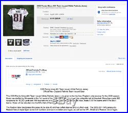 2009 Randy Moss Signed Inscribed New England Patriots Game Issue Jersey Loa