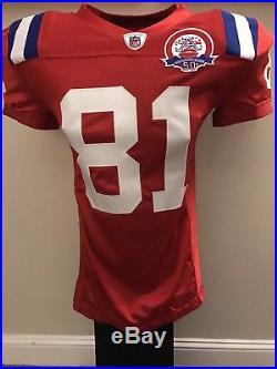 2009 Randy Moss Team Game Issued Patriots Red AFL Throwback Jersey HOF Vikings
