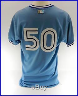 2009 Toronto Blue Jays Davis Romero #50 Blue Game Issued Retro Jersey BLU1075