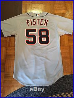 2012 DETROIT TIGERS DOUG FISTER GAME ISSUED WORN ROAD JERSEY SIZE 48+1