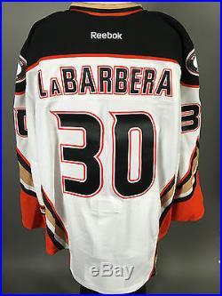 2014-15 Jason LaBarbera Anaheim Ducks Game Issued PLAYOFF White Away Jersey #2
