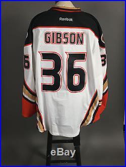 2014-15 John Gibson Anaheim Ducks PLAYOFF Game Issued Away White Jersey Set #2