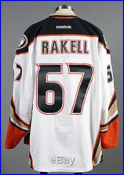 2014-15 Rickard Rakell Anaheim Ducks PLAYOFF Game Issued Away White Jersey