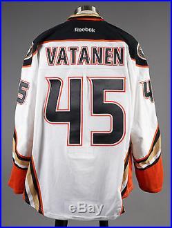 2014-15 Sami Vatanen Anaheim Ducks Game Issued PLAYOFF Away White Jersey Set #2