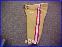 2015-16 NFL San Francisco 49ers Game Worn/Team Issued Nike Football Pants Sz 32