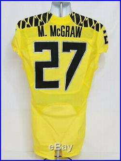 2015 Oregon DUCKS Team Issued NIKE Game Worn FOOTBALL JERSEY #27 McGraw MEN'S 40