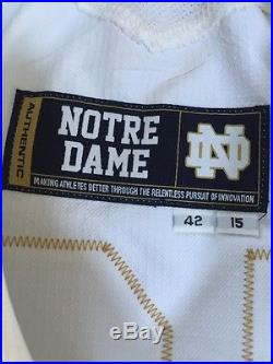 2015 Team Issued Game Wrn Notre Dame Football Under Armour Jersey Qb Sleeves #12