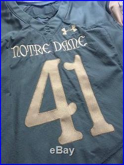 2016 Team Issued/game Worn Notre Dame Football Shamrock Series Ua Jersey #41