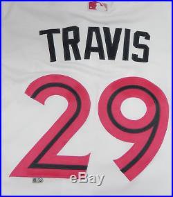 2016 Toronto Blue Jays Devon Travis #29 Game Issued Mother's Day Jersey BLU1190