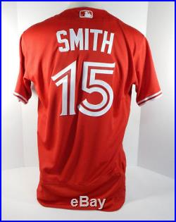 2017 Toronto Blue Jays Dwight Smith Jr #15 Game Issued Red Jersey BLU1176