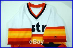 2018 Houston Astros Blank Game Issued White Rainbow Jersey 44