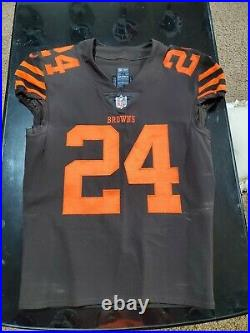 2018 Nick Chubb Cleveland Browns Color Rush Rookie game jersey team issued used