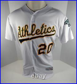 2018 Oakland Athletics A's Mark Canha #20 Game Issued White Playoff Jersey 50th