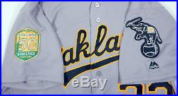 2018 Oakland Athletics A's Renato Nunez #22 Game Issued Grey Jersey 50th Patch