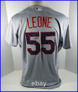 2018 St. Louis Cardinals Dominic Leone #55 Game Issued Grey Jersey Stars Stripes