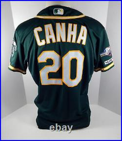 2019 Oakland A's Athletics Mark Canha #20 Game Issued Green Jersey 150 & PS P 93
