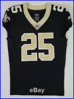 #25 Rafael Bush of New Orleans Saints NFL Game Issued Player Worn Jersey