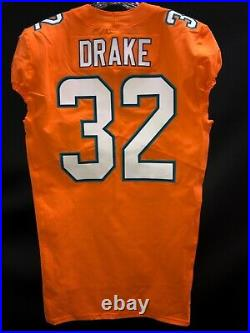 #32 Kenyan Drake Miami Dolphins Game Used/team Issued Orange Color Rush Jersey