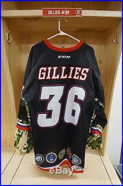 #36 Jon Gillies Game Issued Stockton Heat Military Jersey