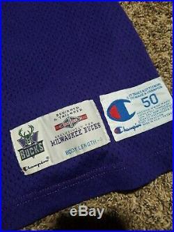 94-95 Eric Mobley #52 Milwaukee Bucks Team Issued Game Worn Champion Jersey 50+4