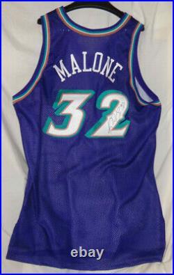 96-97 Utah Jazz KARL MALONE Game Used Worn Issued NBA Basketball Jersey Signed