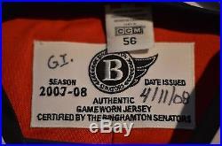AHL Binghamton Senators 2007-08 Game Issued Ilya Zubov Signed Jersey