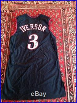 ALLEN IVERSON AUTOGRAPHED PHILA 76ERS PRO-CUT GAME ISSUED JERSEY