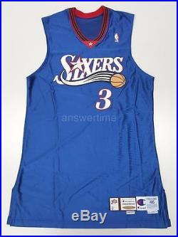 ALLEN IVERSON GAME ISSUED PRO CUT 2000-01 76ERS ALTERNATE AWAY JERSEY 46+2