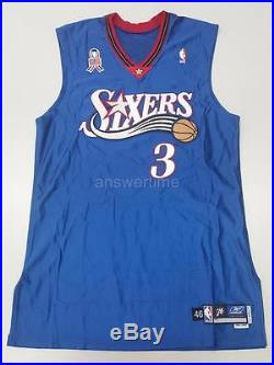 ALLEN IVERSON GAME ISSUED PRO CUT 2001-02 76ERS ALTERNATE AWAY JERSEY 46+2