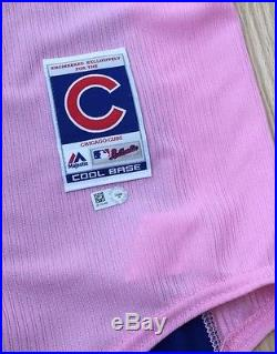 Anthony Rizzo Autographed 2015 Game Issued Chicago Cubs Pink Jersey Mlb Hologram