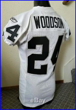 Authentic 04 Raiders Charles Woodson game cut/issued away jersey