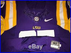 CFB PLAYOFFS LSU Tigers SEC Nike Authentic Game Worn Used Issued Jersey 40