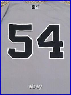 CHAPMAN size 46 #54 2020 New York YANKEES game used jersey issued road HGS MLB