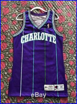 Champion 1995-96 Blank Charlotte Hornets Team Issued Pro Cut Game Jersey Curry