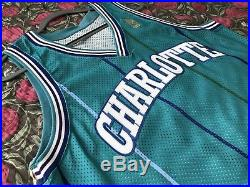 Champion 1996-97 Blank Charlotte Hornets Team Issued Pro Cut Game Jersey Gold 44