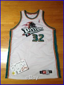 Christian Laettner Detroit Pistons 1998-99 Nike Game Issued Pro Cut Jersey 56+4