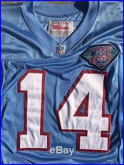 Cody Carlson QB Houston Oilers Home Game Worn Used Issued Wilson Jersey