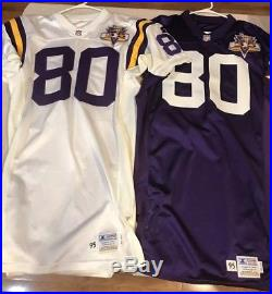 Cris Carter Minnesota Vikings Team Issued Game Jersey X2 Home & Away Sand Knit